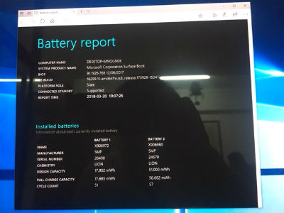 Surface Book battery report