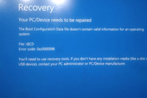 recovery boot configuration data error code 0xc0000098
